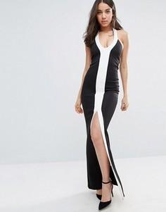 Монохромное платье макси с разрезом City Goddess - Черный