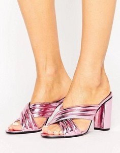 Розовые сабо цвета металлик Daisy Street - Розовый