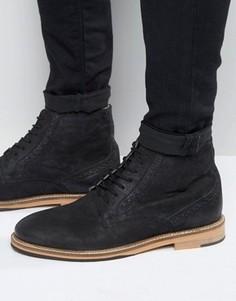 Черные кожаные ботинки-броги Frank Wright - Черный