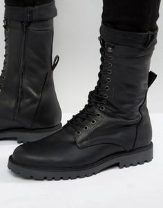 Кожаные ботинки в стиле милитари на шнуровке Zign - Черный