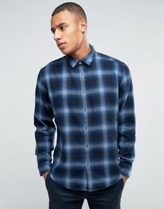 Хлопковая фланелевая рубашка в клетку Esprit - Темно-синий