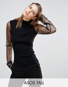 Джемпер с высокой горловиной и прозрачными рукавами ASOS TALL - Черный