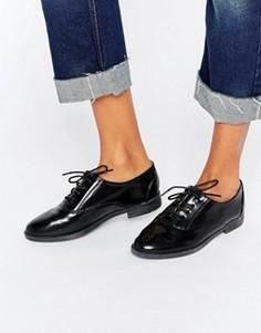 Черные туфли на плоской подошве и шнуровке Daisy Street - Черный
