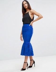 Кружевная юбка-карандаш с баской ASOS - Синий