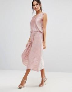 Юбка миди из ткани с отливом Club L - Розовый