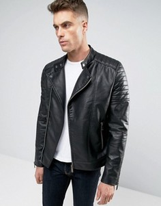 Байкерская куртка из искусственной кожи Barneys - Черный