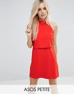 Платье мини с укороченным топом и высоким воротом ASOS PETITE - Красный