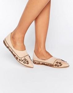 Туфли на плоской подошве с вышивкой Free People - Кремовый