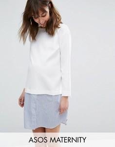 Цельнокройное платье в полоску 2 в 1 для беременных ASOS Maternity - Белый