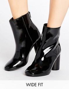 Лакированные ботильоны для широкой стопы на каблуке New Look - Черный