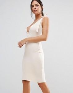 Платье-футляр миди с бантом Club L - Розовый