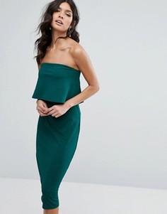 Платье-футляр миди с накладкой Club L - Зеленый