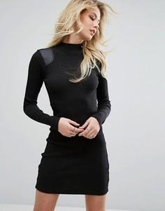 Платье с высоким воротом и вставкой из искусственной кожи G-STAR - Черный