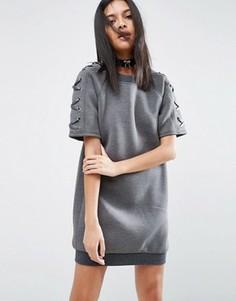 Платье из неопрена с рукавами на шнуровке Story Of Lola - Серый