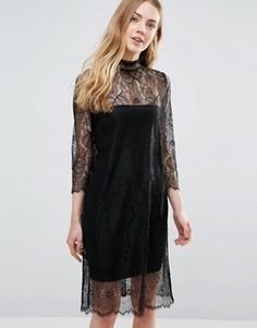 Полупрозрачное кружевное платье с длинными рукавами Ganni California - Черный