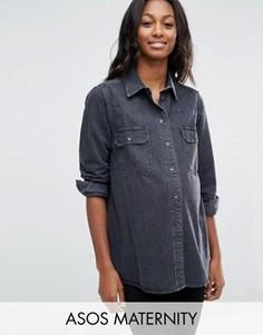 Черная рубашка бойфренда с выбеленным эффектом ASOS MATERNITY - Черный