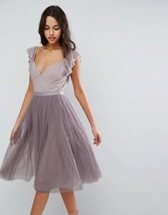 Платье миди из тюля с рукавами рюшами Needle & Thread Swan - Фиолетовый