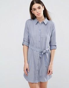 Платье-рубашка из ткани шамбре с поясом AX Paris - Синий