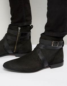 Черные ботинки челси с ремешком и змеиной отделкой ASOS - Черный