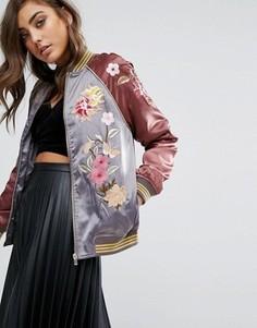 Атласная куртка‑пилот с вышивкой Miss Selfridge - Мульти