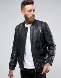 Черная кожаная куртка-пилот с ремешками ASOS - Черный
