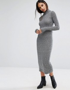 Платье-джемпер в рубчик с высоким воротом Minimum Moves - Черный