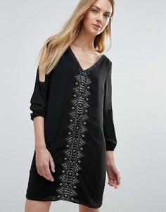 Цельнокройное платье с бисерной отделкой и вырезами на рукавах Greylin Vira - Черный