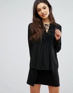 Блузка с заклепками и завязкой у горловины Greylin Alicia - Черный