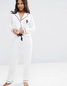 Трикотажный пижамный комплект с рубашкой и брюками ASOS - Белый