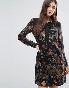 Платье с цветочным принтом и завязкой у горловины Lavand - Мульти