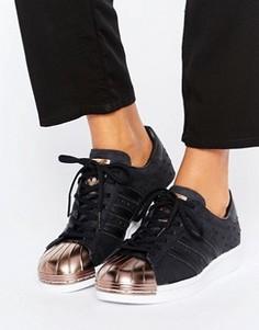Черные кроссовки с отделкой цвета розового золота на носке и эффектом металлик adidas Originals Superstar - Черный