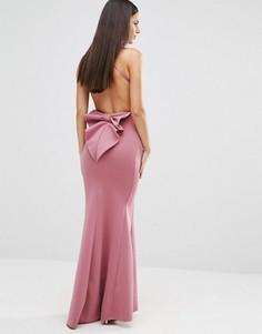 Платье макси с бантом и открытой спиной City Goddess - Розовый