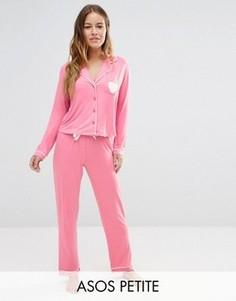 Трикотажный пижамный комплект с рубашкой и штанами ASOS PETITE - Розовый