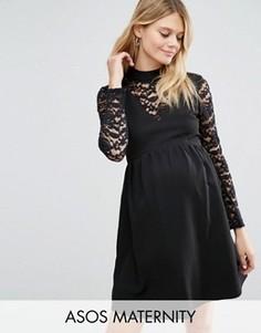 Платье для беременных с высоким воротом и кружевными вставками ASOS Maternity - Черный