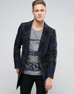 Шерстяное пальто в крупную клетку Sisley - Темно-синий