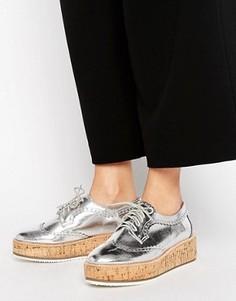 Серебристые кожаные туфли на шнуровке KG By Kurt Geiger Kazam - Серебряный