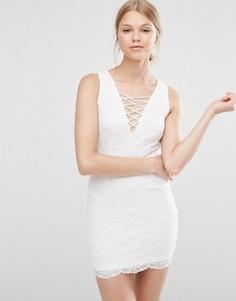 Кружевное платье со шнуровкой спереди Love & Other Things - Белый