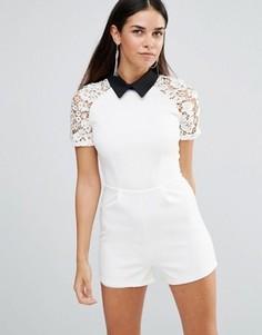 Ромпер с контрастным воротником и кружевными короткими рукавами Girl In Mind Terri - Белый