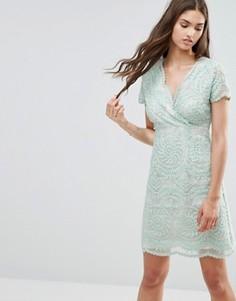 Кружевное цельнокройное платье с короткими рукавами Darling - Зеленый