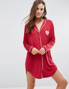 Трикотажная пижамная рубашка ASOS - Красный