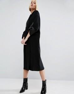 Платье миди с атласной отделкой ASOS WHITE - Черный