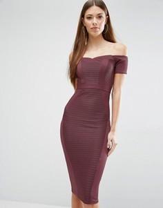 Облегающее платье миди с открытыми плечами ASOS - Фиолетовый