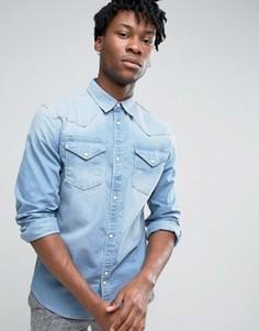 Джинсовая выбеленная рубашка в стиле вестерн Bellfield - Синий