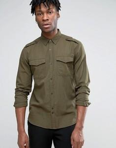 Рубашка в стиле милитари с нагрудными карманами Bellfield - Зеленый