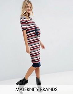 Полосатое платье миди для беременных Mamalicious Rebekah - Мульти Mama.Licious