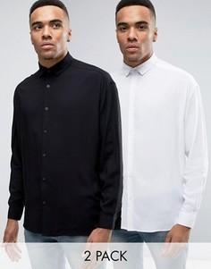 2 oversize-рубашки из вискозы (белая и черная) ASOS - СКИДКА - Мульти