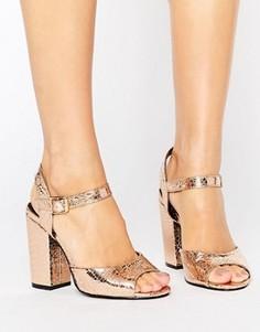 Золотистые сандалии на каблуке Daisy Street - Золотой