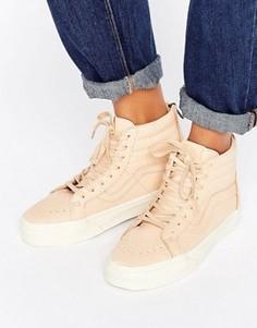 Кожаные кроссовки телесного цвета Vans Sk8-Hi Reissue - Кремовый