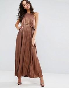 Плиссированное платье макси цвета металлик с кроп-топом ASOS - Медный