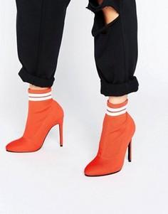 Полусапожки с эластичной вставкой в виде носка ASOS EKRON - Красный